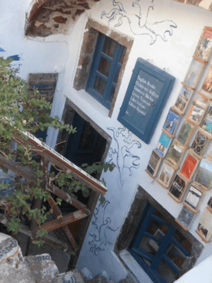 Julia Ember travel photos - Santorini bookstore