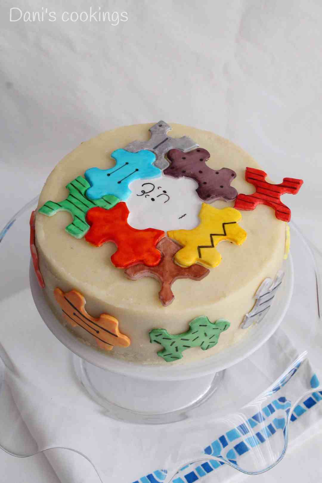 Funny and pretty puzzle cake with ricotta filling and buttercream frosting