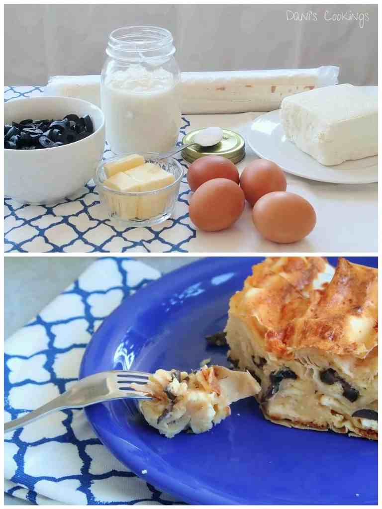 filo pie with cheese and olives - daniscookings.com