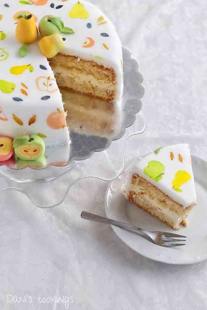 Check out how to make a cake with fondant fruits decoration! A recipe for a sponge layer cake with mascarpone frosting is included in the post