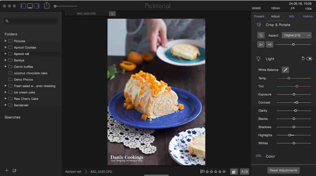 Photo Editing Tutorial - food photo with light adjustments in Picktorial