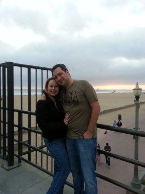 Tom & I with Sunset in HB