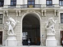 Gigantic Hapsburg Hercules statues in the courtyard