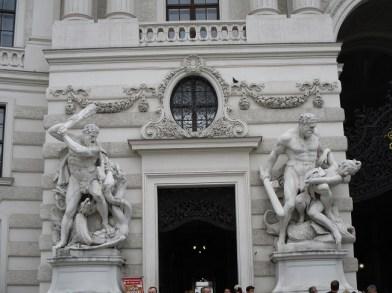 Hapsburg Hercules statues in the courtyard