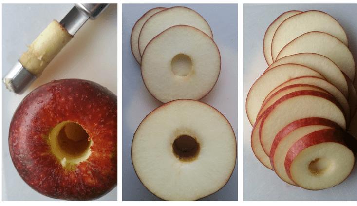 Ingrid Marie - æbler i skiver til æble chips - tørrede æbleringe