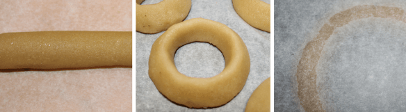 Loosen the bars with a palette knife or kitchen knife and lay them on a baking sheet lined with baking paper. Form each measured piece to a ring, remember to make the point of the triangle upwards. Smooth the cake rings, use a very tiny bit of water on your fingers. Be careful not to get the marzipan too wet.