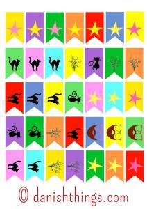 Fastelavnsflag Find flag til kager og guirlander - gratis print - find opskrifter og inspiration @ danishthings.com