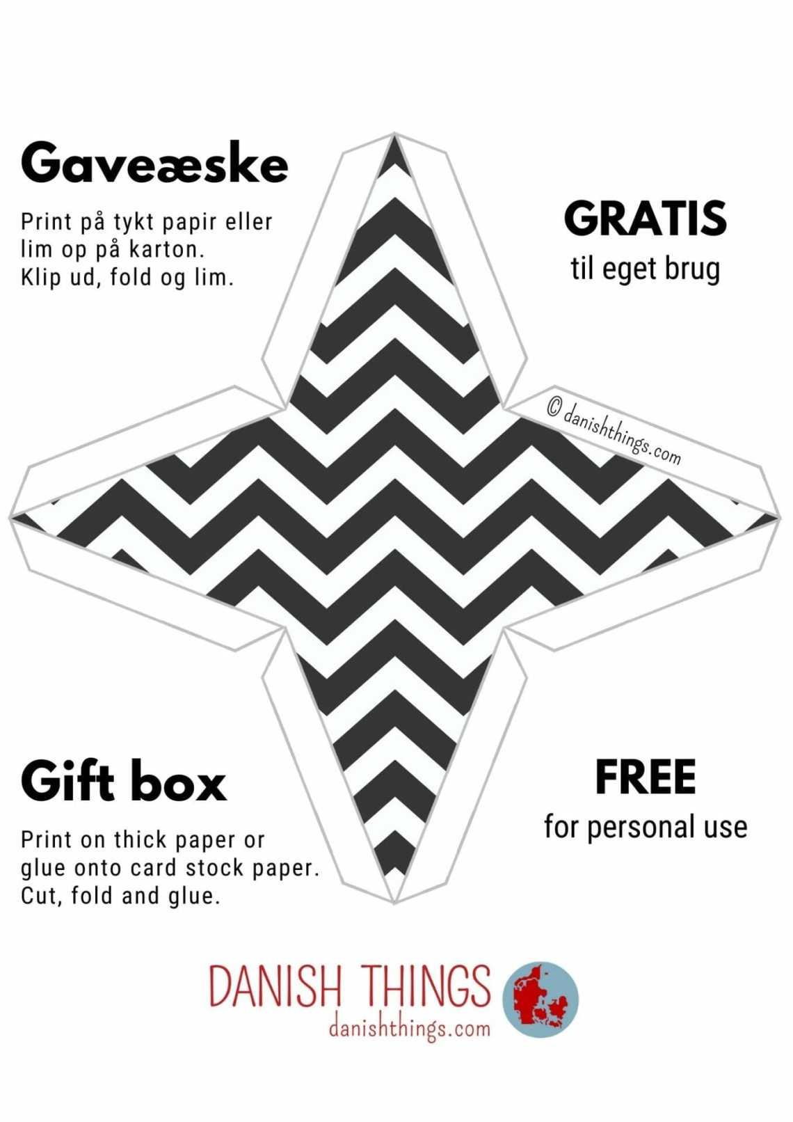 Lav dine egne gaveæsker - sort-hvide pyramideæsker 2 størrelser – find gratis æsker i flere farver og størrelser, kort, plakater, opskrifter og inspiration til årets gang på danishthings.com #DanishThings #gaveæske #pyramideæske #gave #gratis