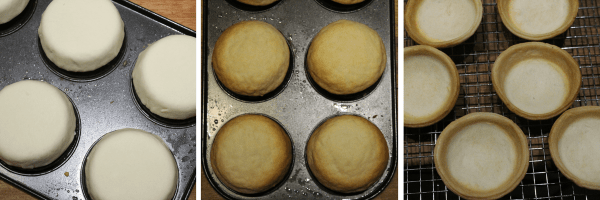 Læg cirklerne på en omvendt muffinform. Se foto.