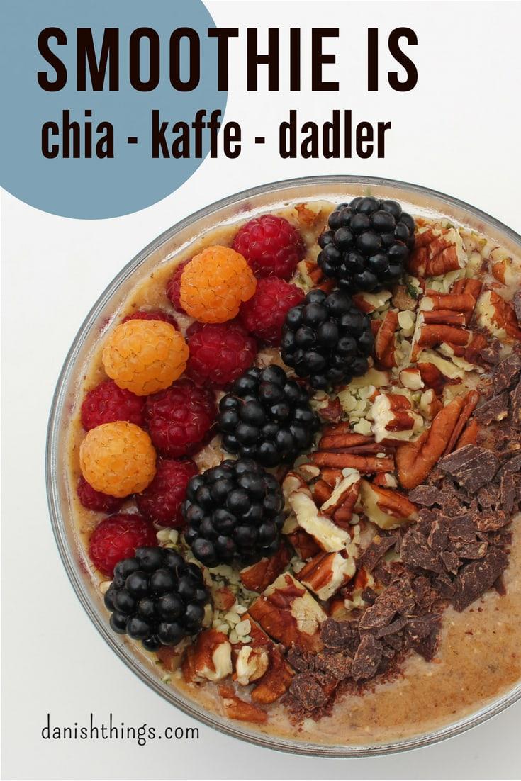 Jeg har fundet opskriften på den bedste chia-kaffesmoothie, eller smoothie bowl, sødet med dadler. Om morgen laver du en velsmagende morgenkaffe smoothie eller smoothie bowl med lækker topping - en morgenmad du også kan ta' med. Du kan også lave smoothien som snack eller som en sundere dessert. Nyd den med god samvitti</div> <p>ghed, for chia-kaffesmoothien er fyldt med gode sager. Find opskriften på danishthings.com