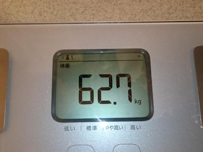 ダイエット6日目の実測体重