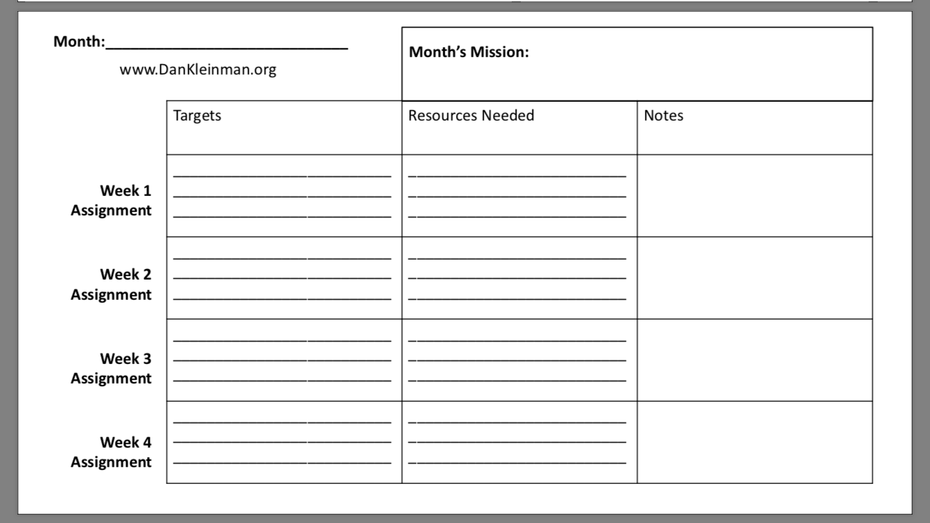 A Template Packet For Personal Strategic Planning Dan