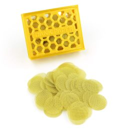 100 Pieces – Dank Paper Brass Tobacco Smoking Pipe Filter Screen with Reusable Honeycomb Plastic Case