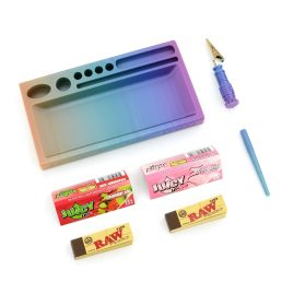 Juicy Jay's Rolling Paper Bundle Kit with Dank Paper Small Rolling Tray, Cigarette Holder Clip, Packing Tool, Juicy Jay's Flavoured Rolling Papers and Raw Unrefined Tips