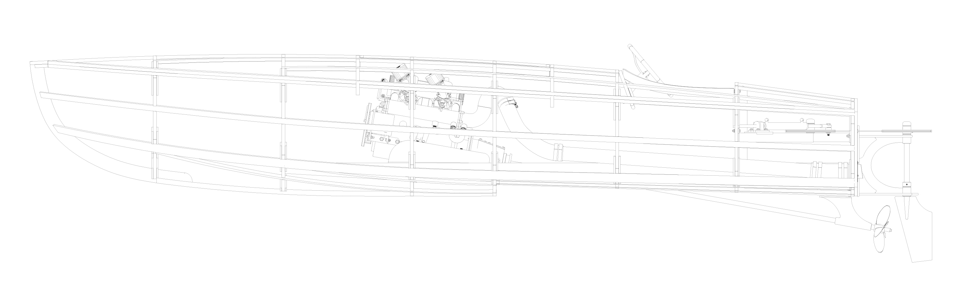 CAD Drawing of Rocket MkII Boat Pre Crossflow Engine Installation