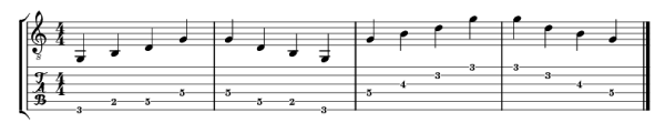 G major arpeggio from major scale