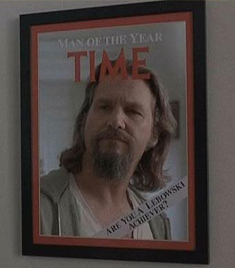 Jeff Bridges looking into a Time magazine mirror in The Big Lebowski