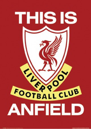 The Liverpool FC crest. Red and white with a Liver bird on the shield.