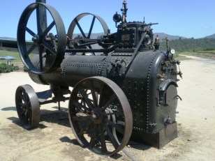 """We saw roughly 20 of these steam """"engines"""". Evidently they were used to power various devices on farms. Oxen would pull them to move them around."""