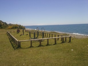 Many of the pueblos we visited have sets of exercise equipment along the shore.