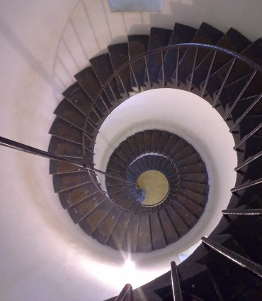 A light house, as seen from the inside looking down