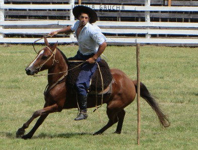 A gaucho and his horse competing in an event comparable to dressage, which demonstrates complete communication between rider and horse.