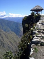 The drop off from Machu Picchu Mountain is steep