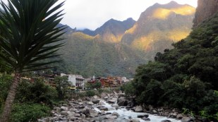 Aguas Calientes town and alpenglow at the end of our Salkantay Trek