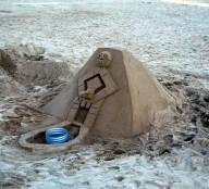 Creative sand castle, Barcelona