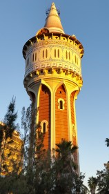This is actually a modern water tower, made to look historic