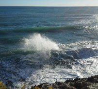 Rogue wave where a wave bouncing out from the shore meets one coming in