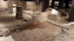 Roman ruins in the basement of a museum. This is very common - it seems that every time they disturb the earth to construct a new building they come upon more ruins, and many of them are Roman