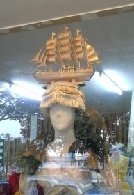 Need a hat with A full rigged square rigger on it? Seen in a shop window.