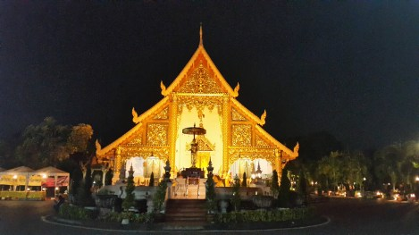 Buddhist temple at night