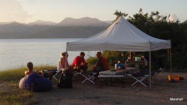 Our dining tent on the island.