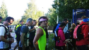 Gathering at the train station for the start.