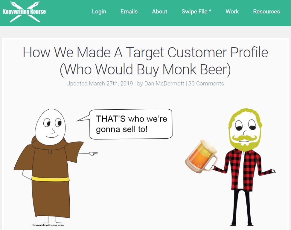 How we made a target customer profile (who would buy monk beer)