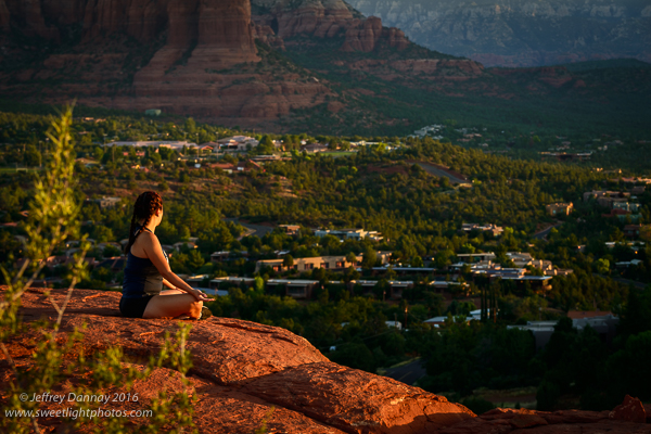 I spotted this woman practicing yoga at sunrise