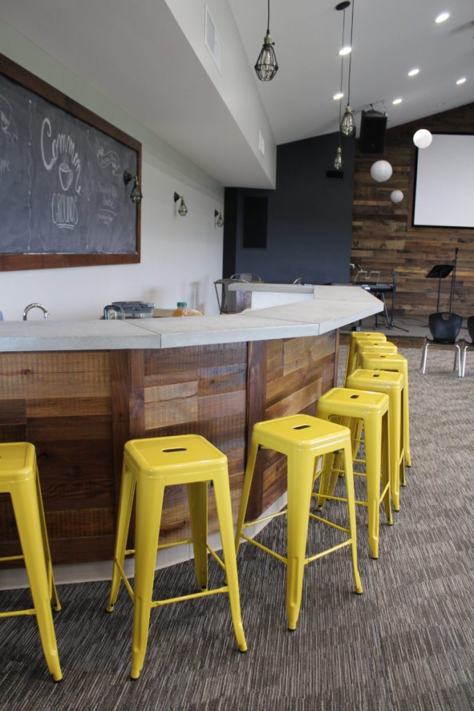 Coffee Bar, wood planking, concrete counters