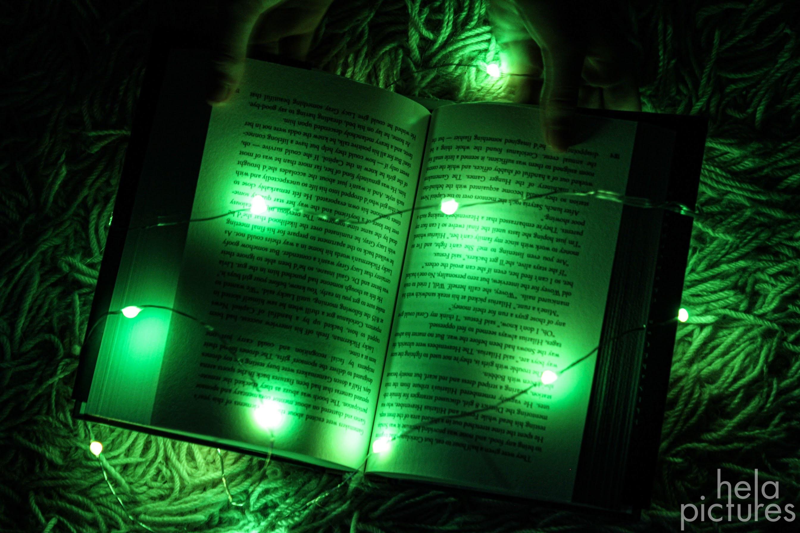 open book, green lights