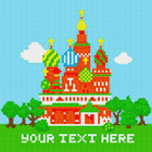 Image is a virtual cross stitch of a colourful temple with various spires, underneath which it says