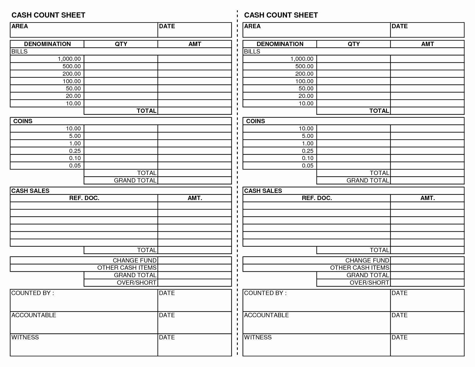 20 Cash Register Count Sheet