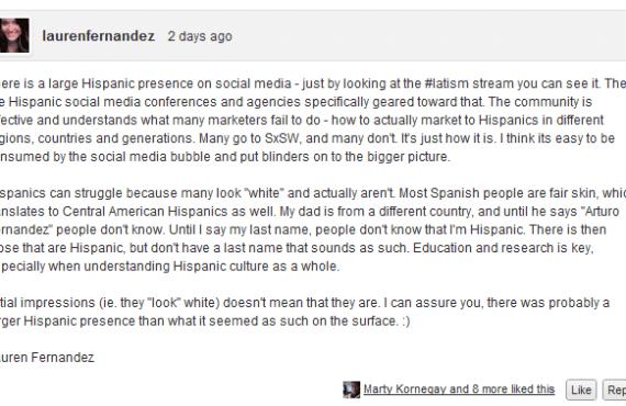 Lauren Fernandez blog comment
