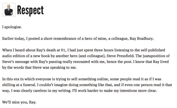 Seth Godin Ray Bradbury