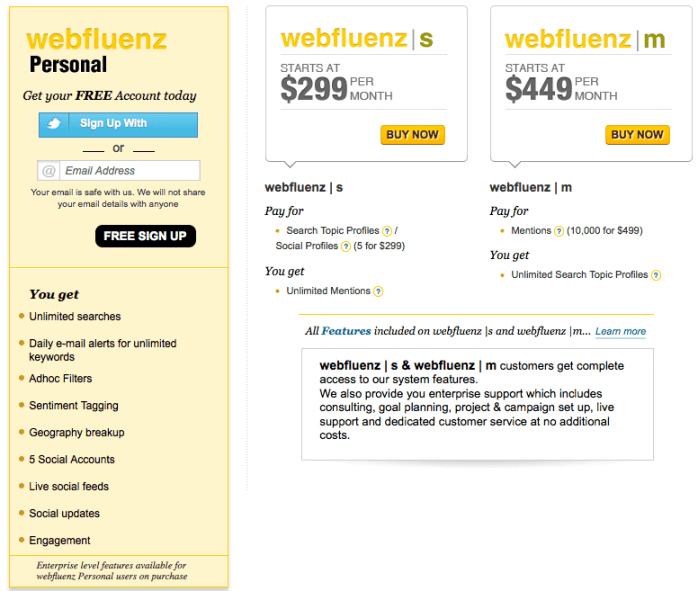 Webfluenz pricing