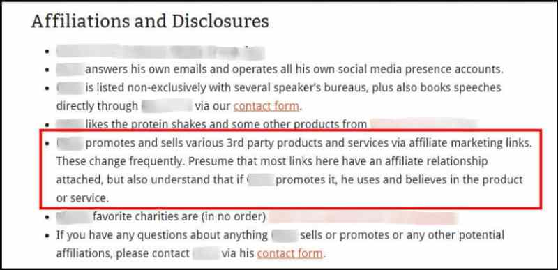 Blog disclosure about page