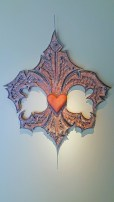 "Fleur de Lis, Scrap Steel, Wood, ball bearings, H 41""x W 30"""