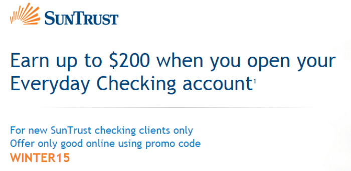 SunTrust Bank, $200 Checking Bonus