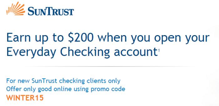 SunTrust Bank, $200 Checking Bonus