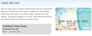 AAA Visa Gift Cards - No fee